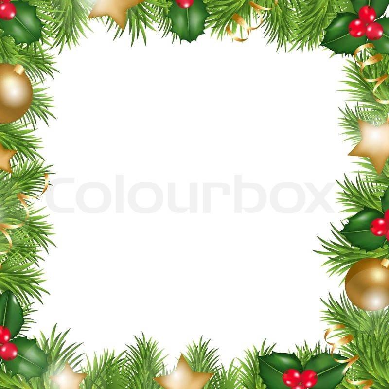 Merry Christmas Border, Isolated On White Background, Vector