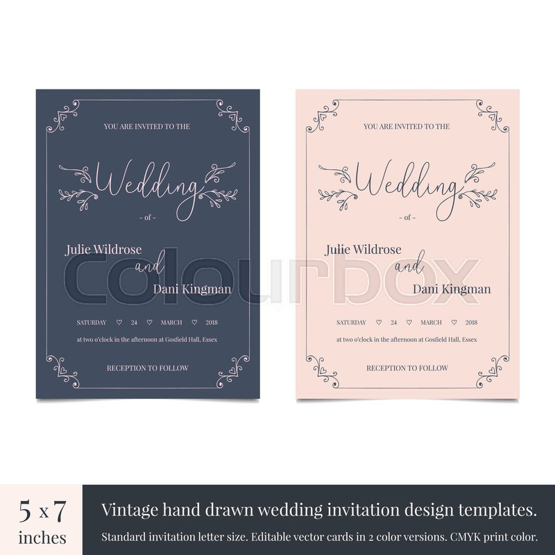 Hand drawn doodle wedding invitations design template Hand drawn