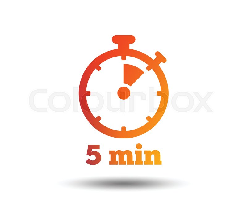 Timer sign icon 5 minutes stopwatch Stock Vector Colourbox