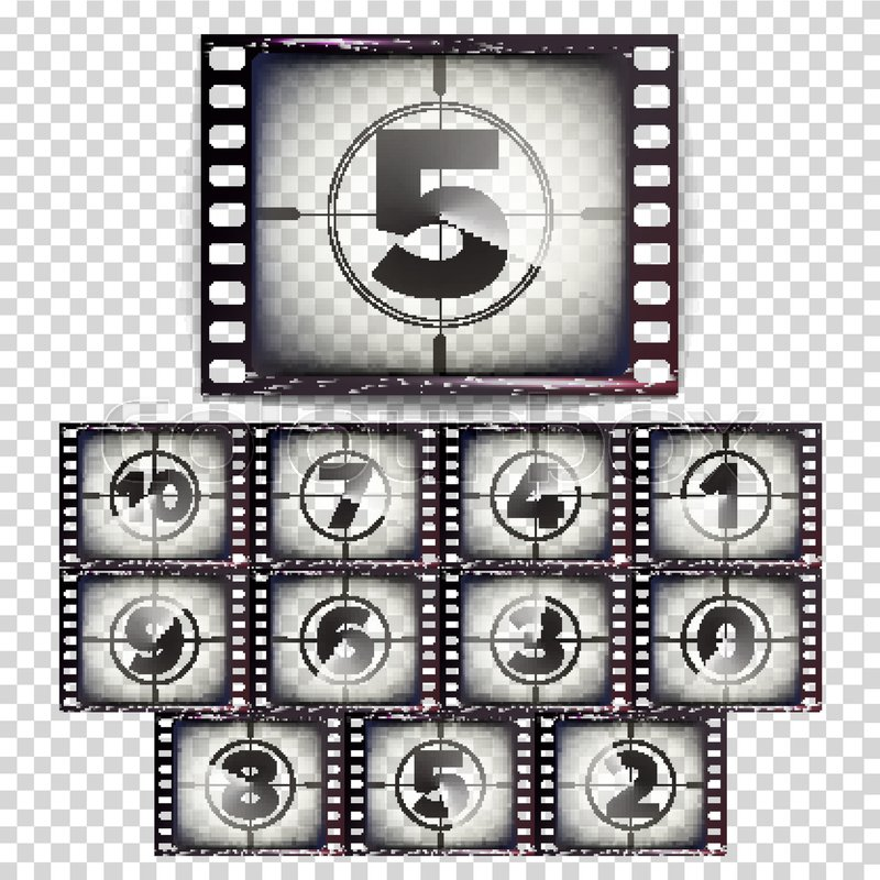Film Countdown Numbers 10 - 0 Vector Stock Vector Colourbox