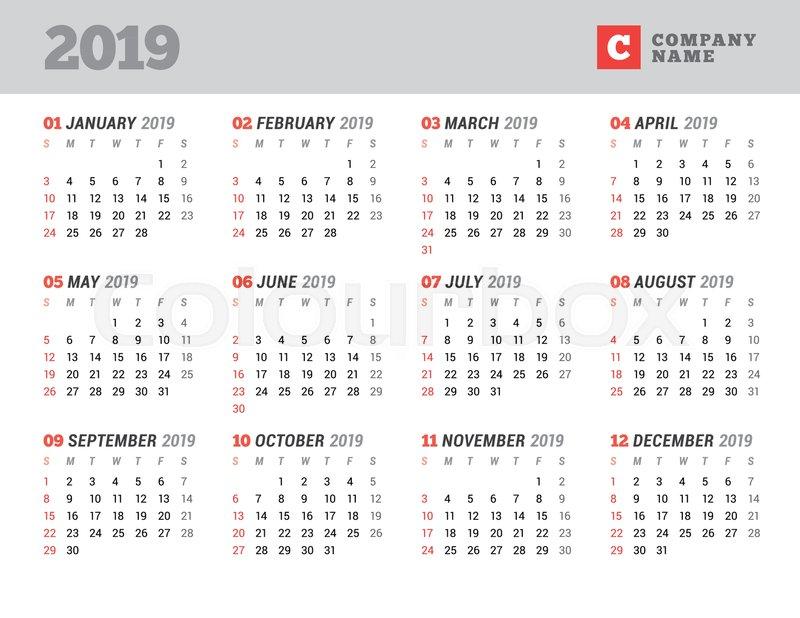 Calendar template for 2019 year Stock Vector Colourbox