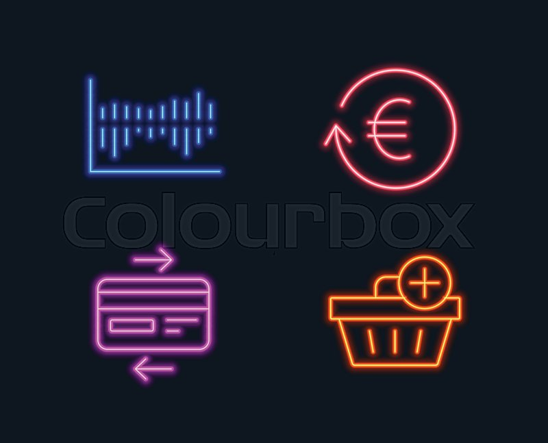 Neon lights Set of Exchange currency, Stock Vector Colourbox