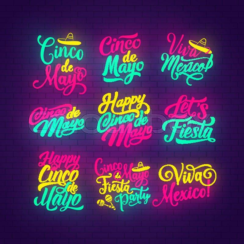 Cinco de Mayo neon lettering set of mexican holiday Happy Cinco de