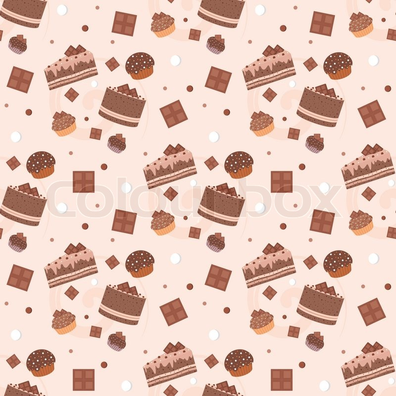 Cute Cupcake Wallpaper Seamless Chocolate Cakes Pattern Stock Vector Colourbox