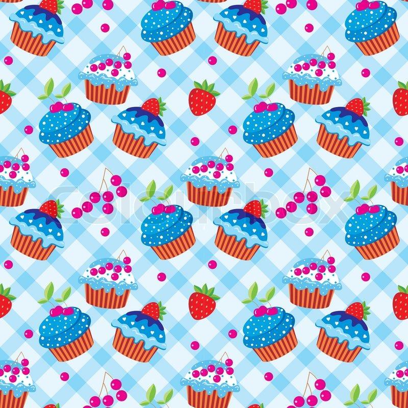 Cute Bakery Wallpaper Seamless Cupcake Pattern Stock Vector Colourbox