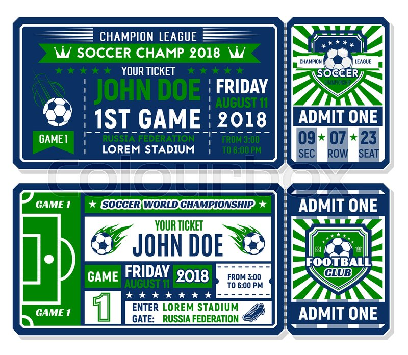 Soccer ticket template with football Stock Vector Colourbox