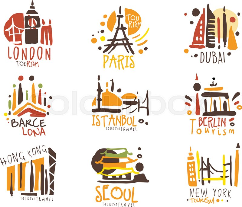 Touristic Travel Agency Set Of Stock Vector Colourbox