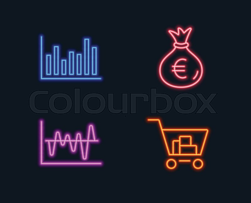 Neon lights Set of Bar diagram, Money Stock Vector Colourbox