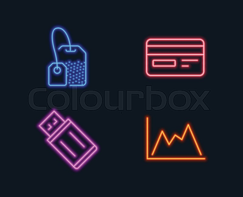 Neon lights Set of Credit card, Usb Stock Vector Colourbox