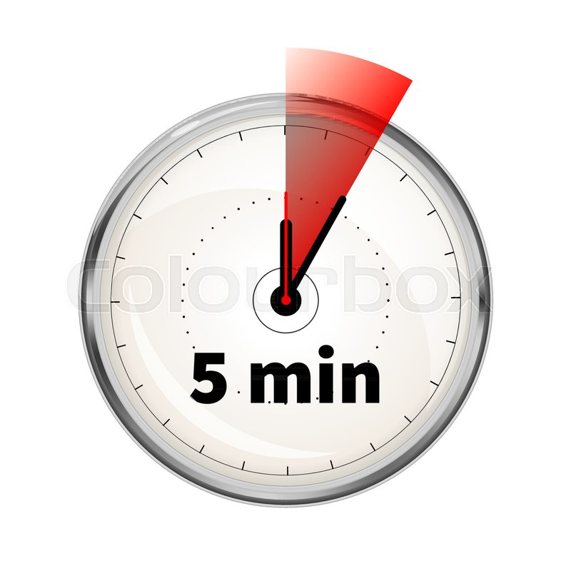 Realistic clock face with five minutes Stock Vector Colourbox