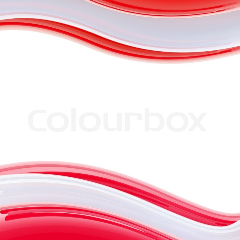Wavy red and rose glossy bright design Stock Photo Colourbox