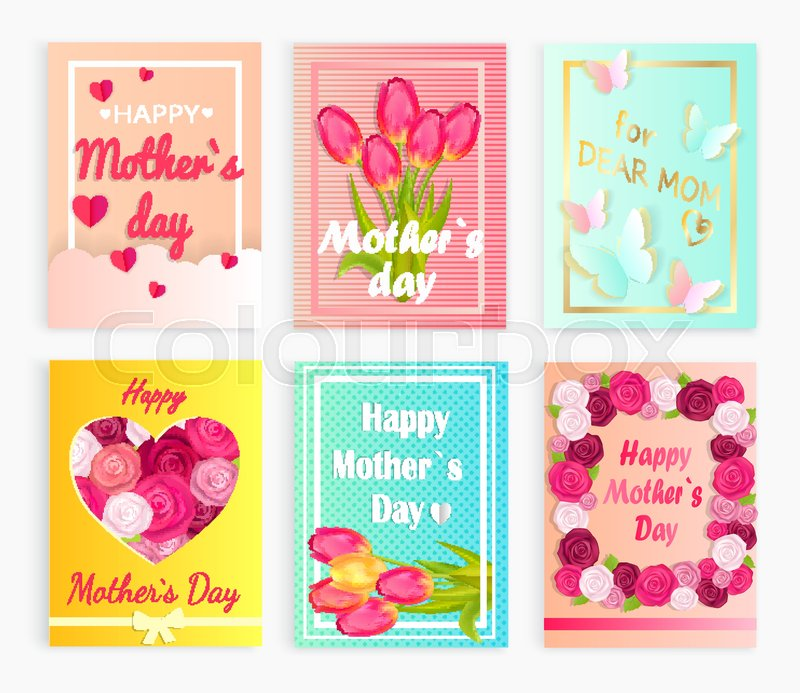 Six cute postcards with red hearts, Stock Vector Colourbox