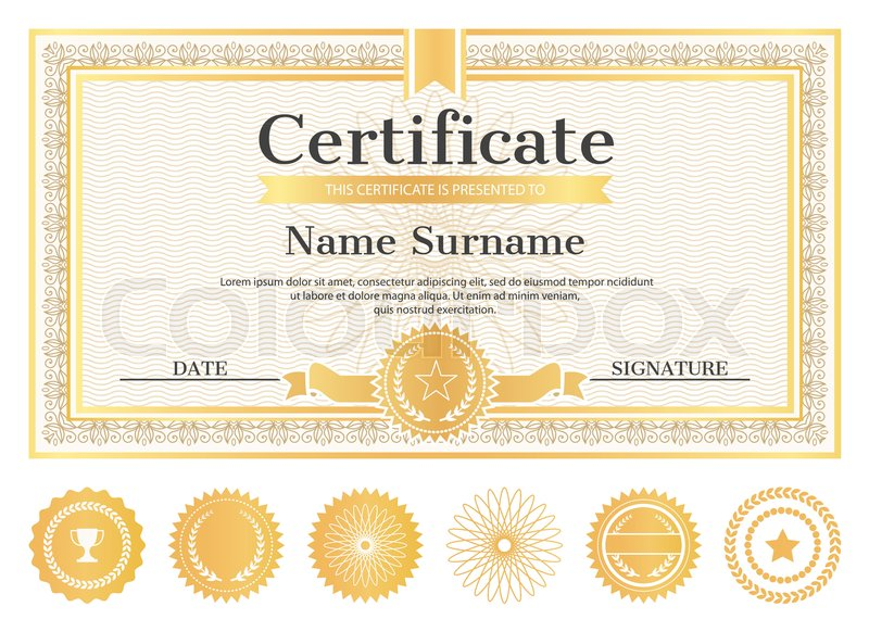 Certificate sample with place for name Stock Vector Colourbox