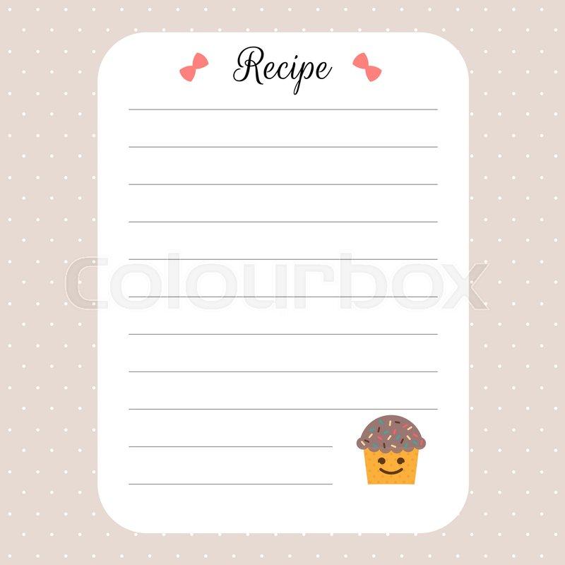 Recipe card template Cookbook Stock Vector Colourbox