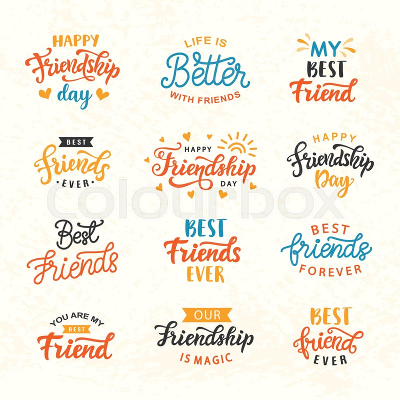 Happy Friendship Day hand lettering big set Greeting card