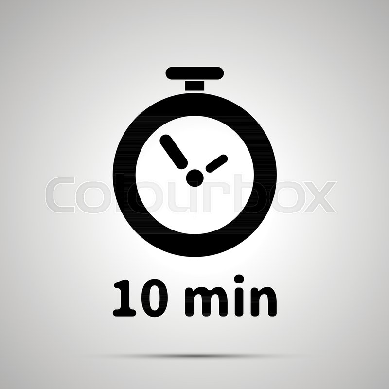 Ten minutes timer simple black icon with shadow Stock Vector