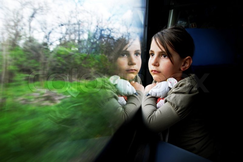 Girl Boy Sad Hd Wallpaper Little Girl Looking Through Window She Travels On A Train