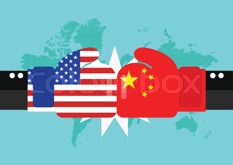 Conflict between USA and China with Stock Vector Colourbox
