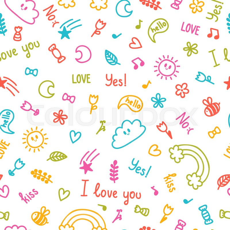 Background for cute little kids Hand drawn children drawings color  seamless pattern Doodle children drawing background Sketched design  elements
