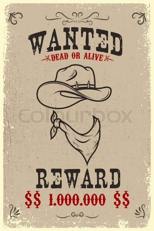 Vintage wanted poster template with Stock Vector Colourbox