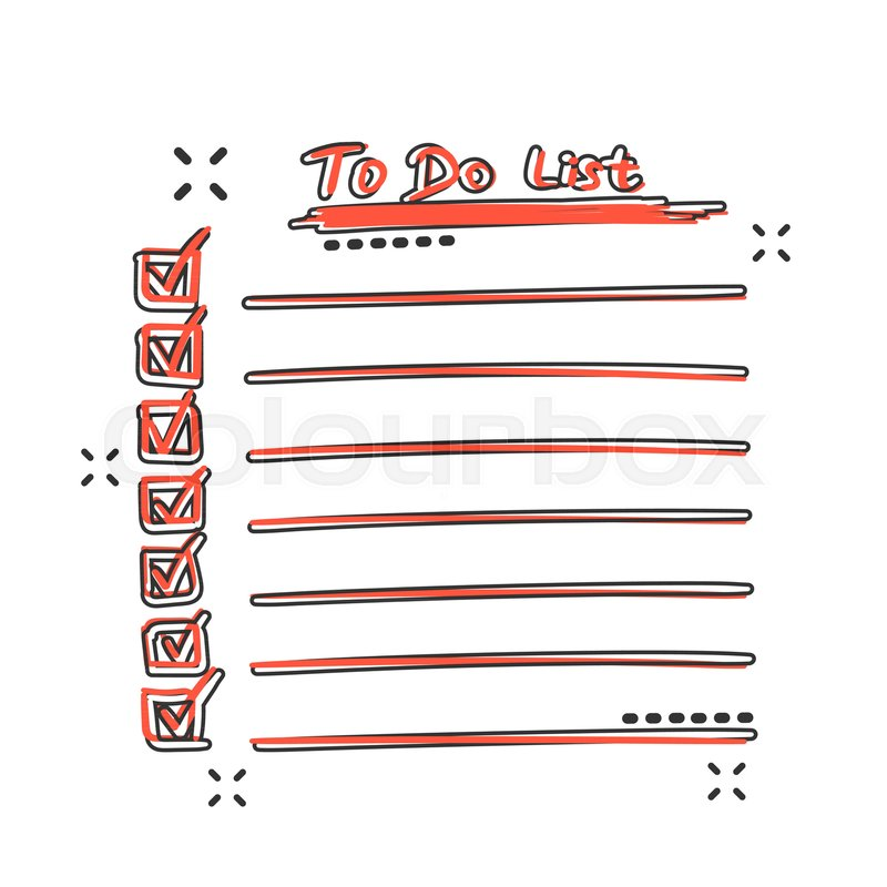Vector cartoon to do list icon in comic style Checklist, task list