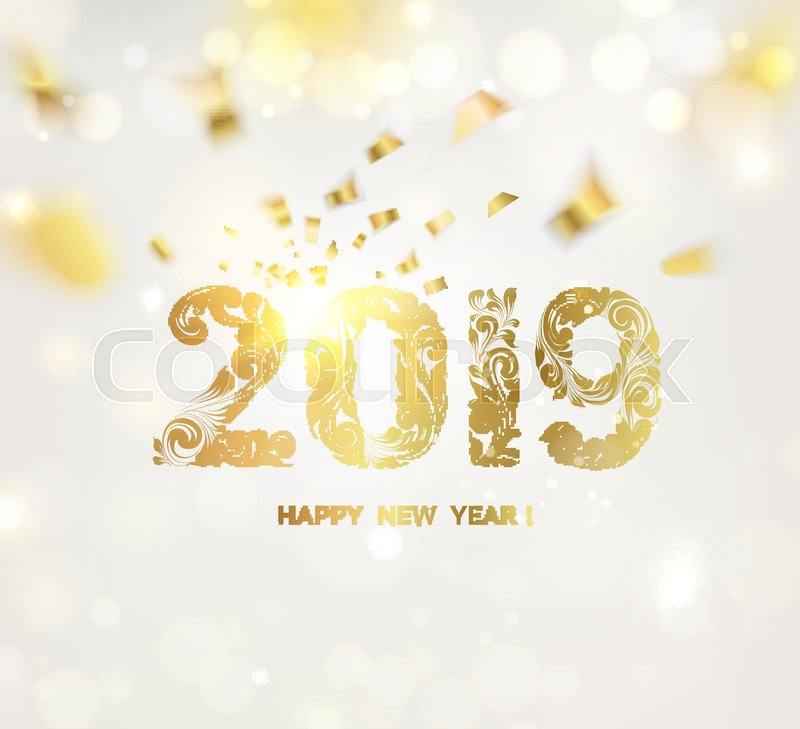 Happy new year card over gray Stock Vector Colourbox