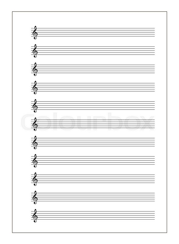A4 music sheet with note stave with Stock Vector Colourbox