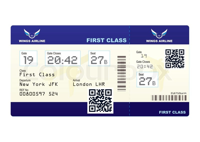 Fake plane ticket with scan smart barcode modern QR code Stock - printable fake airline tickets