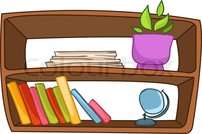 Cartoon Home Furniture Book Shelf Isolated On White