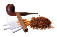 Tobacco. Cigar, cigarettes, pipes and a handfull of ...