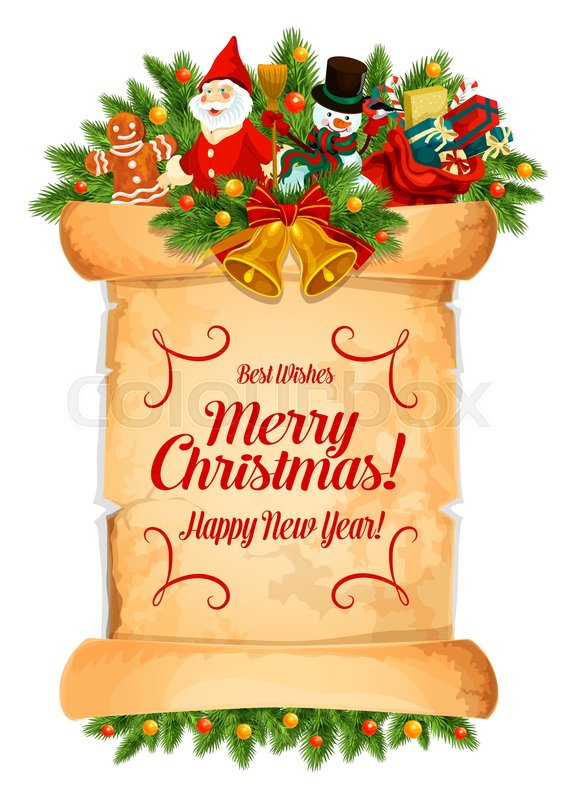 Merry Christmas and Happy New Year Stock Vector Colourbox