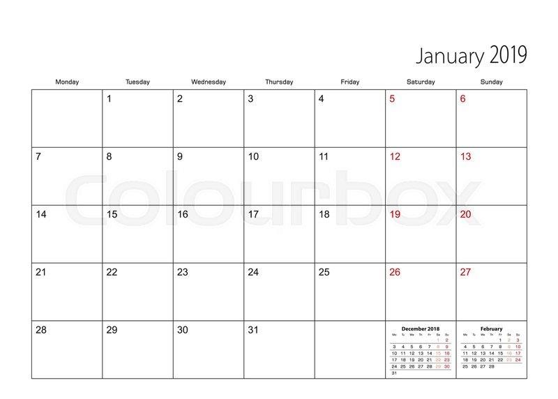 2019 calendar monday start - Gurekubkireklamowe