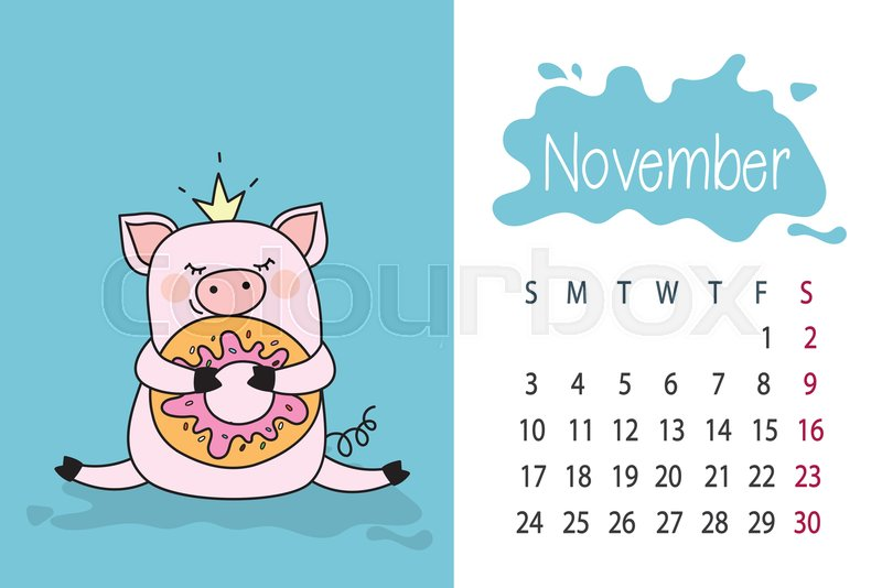 November month template 2019 year Stock Vector Colourbox