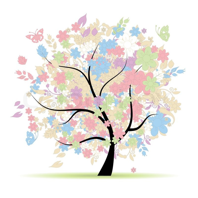 Pale Pink Wallpaper For Girl Nursery Floral Tree In Pastel Colors For Your Design Spring