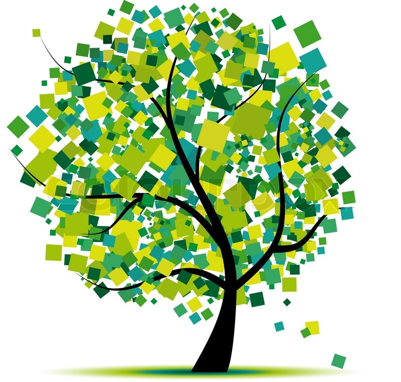 Abstract tree green for your design Stock Vector Colourbox