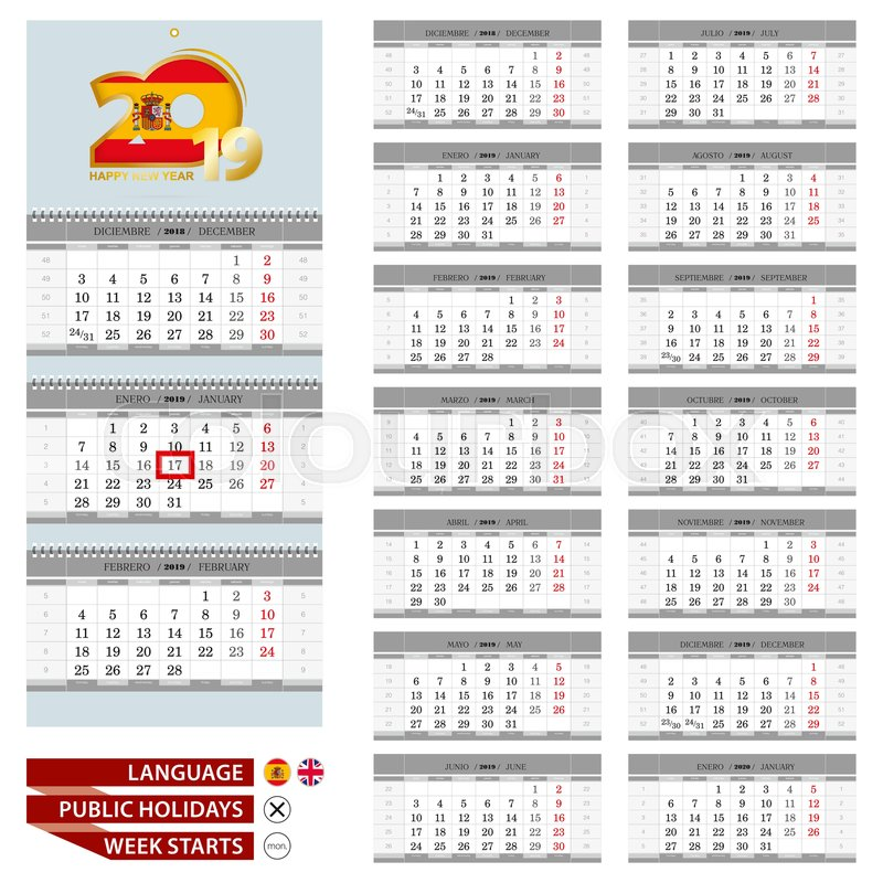Spanish and English language calendar Stock Vector Colourbox