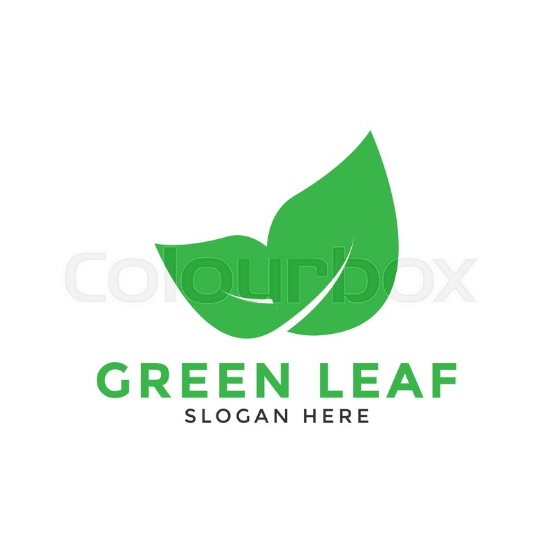 Illustration of green leaf logo icon Stock Vector Colourbox