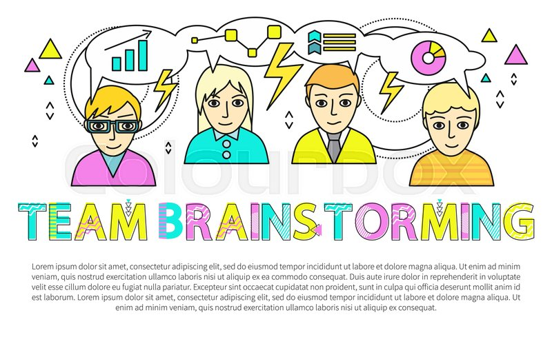 Team brainstorming poster and text Stock Vector Colourbox