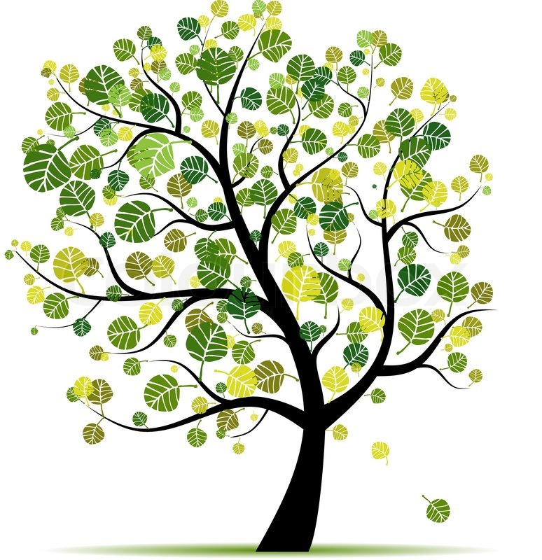 Spring tree green for your design Stock Vector Colourbox