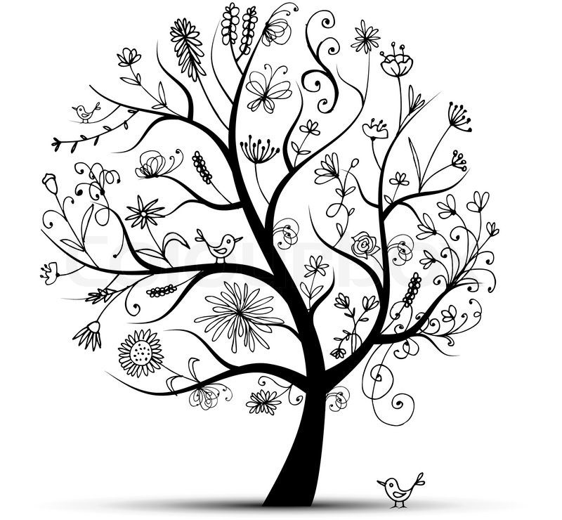 Art floral tree black for your design Stock Vector Colourbox