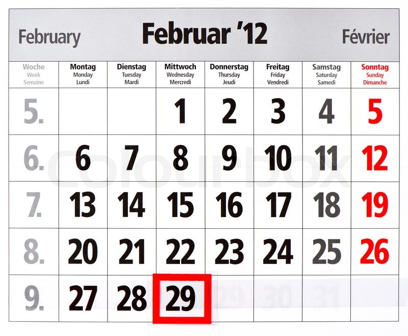 Leap year calendar with red mark on 29 Stock Photo Colourbox
