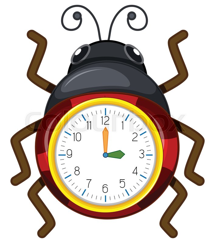 A ladybug clock template illustration Stock Vector Colourbox