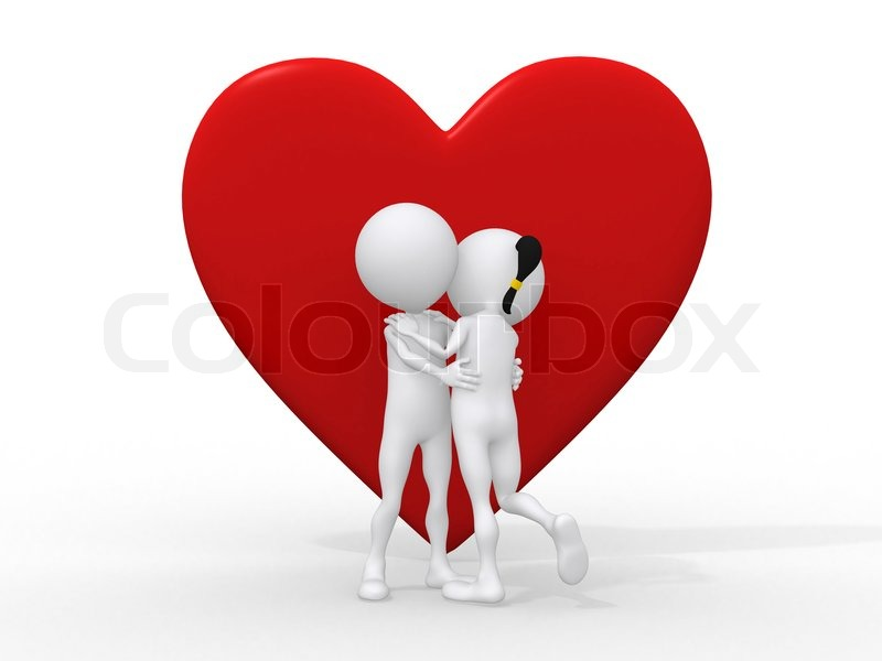 3d Stylish Girl Wallpaper Beautiful 3d Love Couple Embracing Against A Big Red Heart