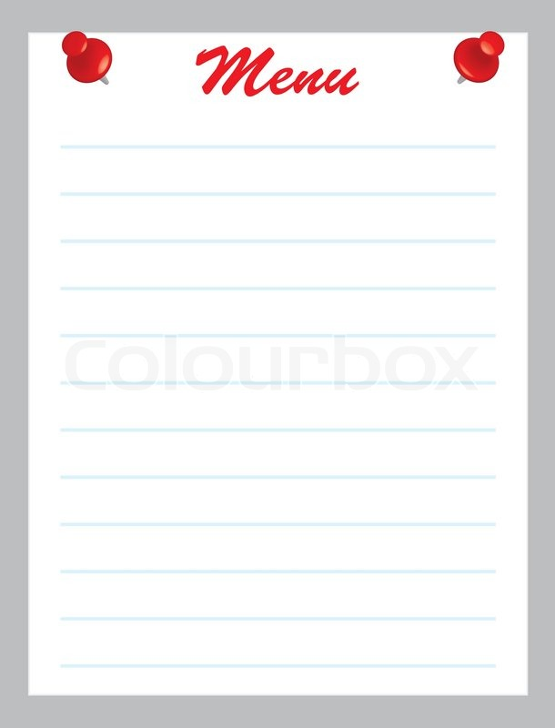 Blank menu page with red pins vector illustration Stock Vector