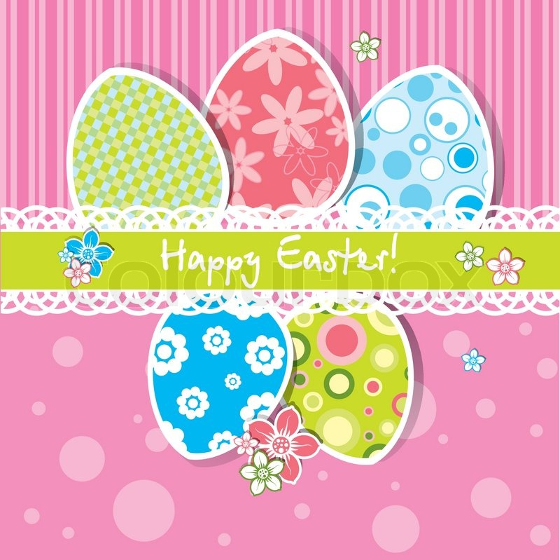 Template Easter greeting card, vector Stock Vector Colourbox