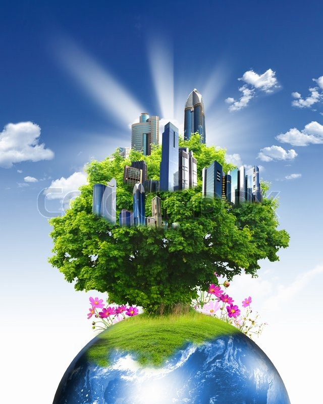 3d World Globe Wallpaper Green Nature Landscape With Planet Earth Stock Photo