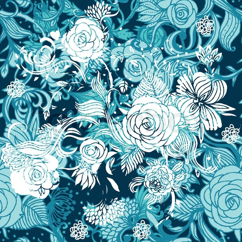 Seamless turquoise floral background Stock Vector Colourbox