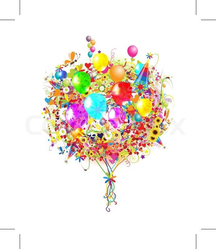 Tillykke med fødselsdagen illustration med balloner til dit design
