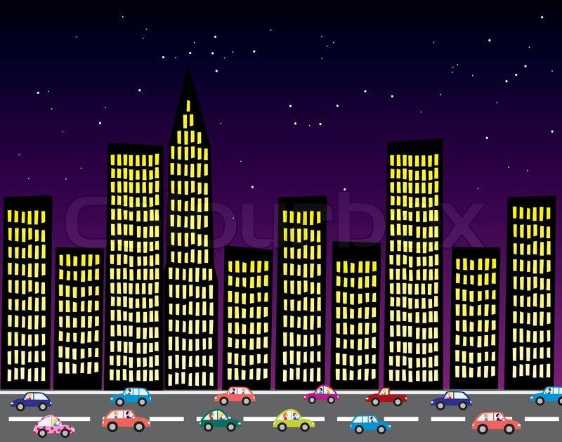 Black Car Lights Wallpaper Vector City At Night Stock Vector Colourbox