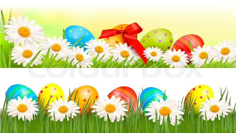 Two easter borders with easter eggs and Stock Photo Colourbox